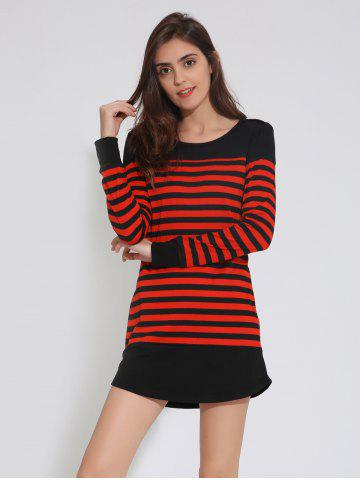 Store Drop Shoulder Striped Tunic Casual Dress RED/BLACK XL