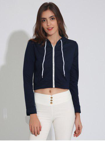 Fancy Zip Up Cropped Hoodie with Drawstring PURPLISH BLUE XL