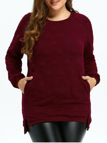 Outfits Plus Size Quilted Long Sleeve High Low Top WINE RED 4XL