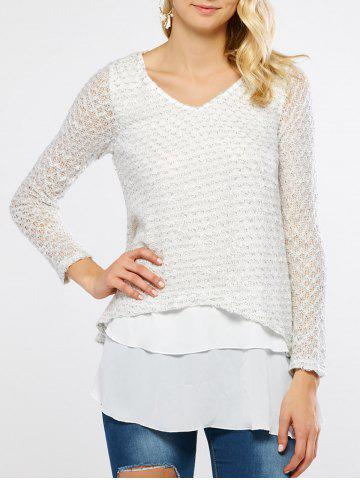 V Neck Layered Long Sleeve Pullover Sweater - WHITE - 5XL