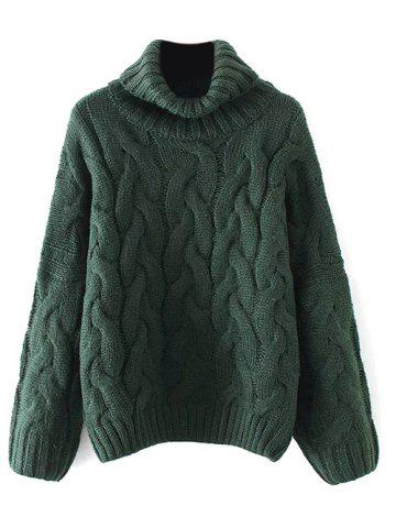 Store Cable Knit Turtle Neck Sweater BLACKISH GREEN ONE SIZE