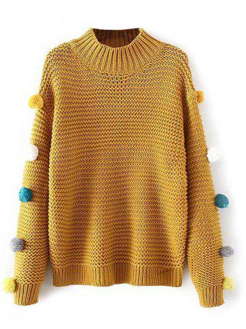 Chic Fuzzy Ball Knit High Neck Sweater