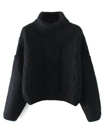 Affordable Oversized Turtle Neck Cable Knit Sweater