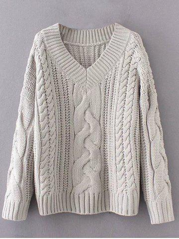 Shops V Neck Pullover Cable Knit Sweater
