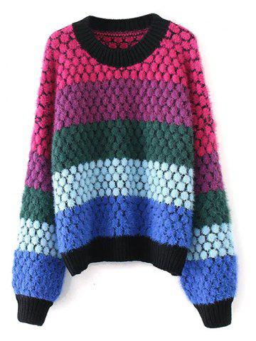 Discount Color Block Pullover Knit Sweater