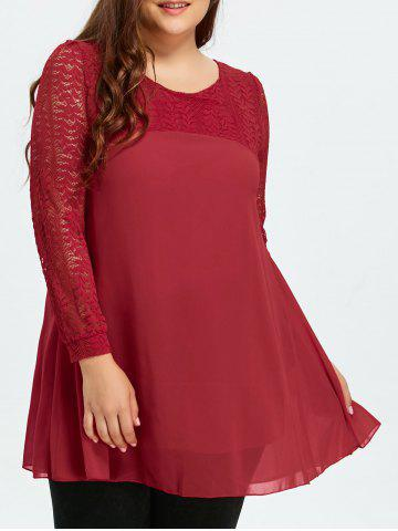 Chic Plus Size Lace Cutout Long Sleeve Chiffon Blouse