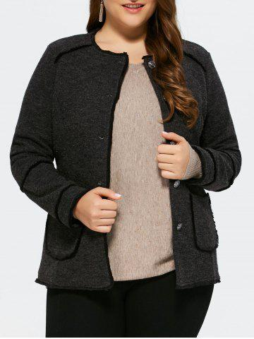 Outfit Plus Size Button Up Cardigan With Pocket