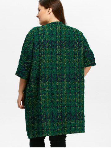 Affordable Plus Size Space Dyed Chunky Cardigan - ONE SIZE GREEN Mobile