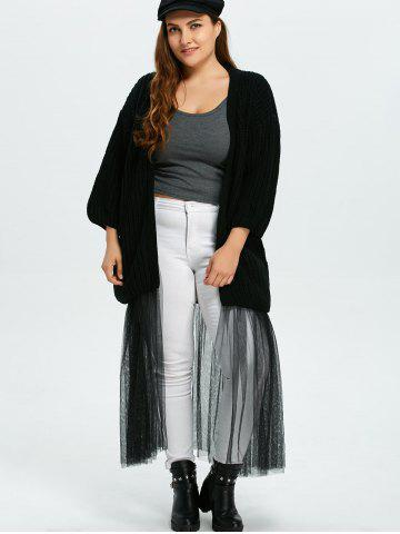 Latest Plus Size Mesh Insert Chunky Duster Cardigan - ONE SIZE BLACK Mobile