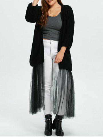 Chic Plus Size Mesh Insert Chunky Duster Cardigan - ONE SIZE BLACK Mobile
