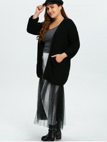 Affordable Plus Size Mesh Insert Chunky Duster Cardigan - ONE SIZE BLACK Mobile
