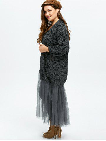 Hot Plus Size Mesh Insert Chunky Duster Cardigan - ONE SIZE GRAY Mobile