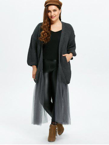 Affordable Plus Size Mesh Insert Chunky Duster Cardigan - ONE SIZE GRAY Mobile
