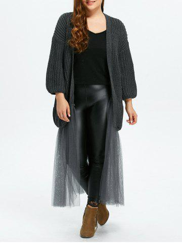 Latest Plus Size Mesh Insert Chunky Duster Cardigan - ONE SIZE GRAY Mobile