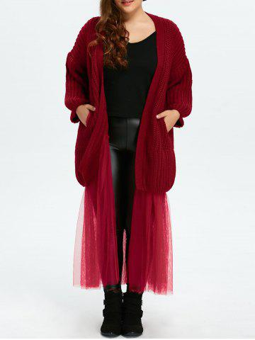 Affordable Plus Size Mesh Insert Chunky Duster Cardigan WINE RED ONE SIZE