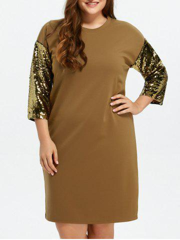 Sale Plus Size Sequin Two Tone Shift Dress KHAKI ONE SIZE