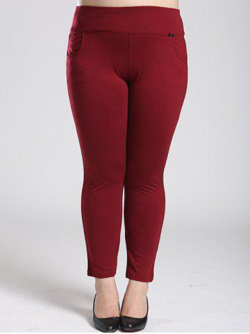 Fleece Stretchy Elastic Waist Skinny Pants - Wine Red - 3xl