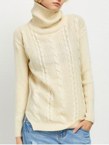 Trendy Turtleneck Cable Knit Side Slit Sweater