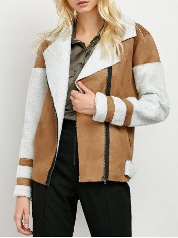 New Faux Fur Panel Suede Biker Jacket