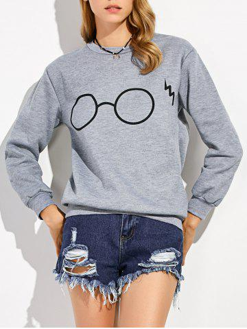 Chic Pullover Glasses Print Sweatshirt GRAY XL