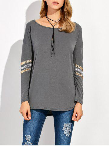 Store Sequin Long Sleeve Drop Shoulder T-Shirt