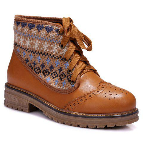 Chic Knit Panel Wingtip Boots