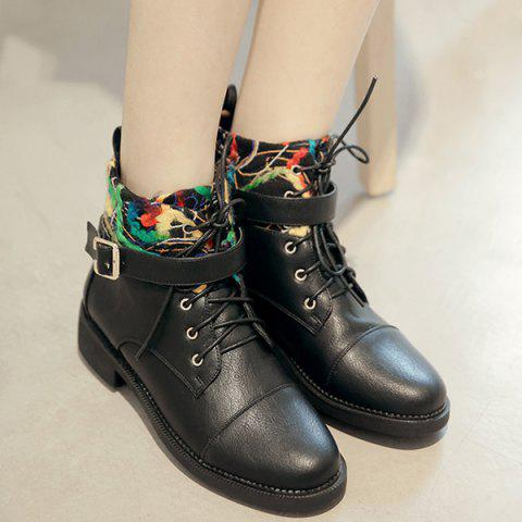 Hot PU Leather Panel Buckle Strap Short Boots