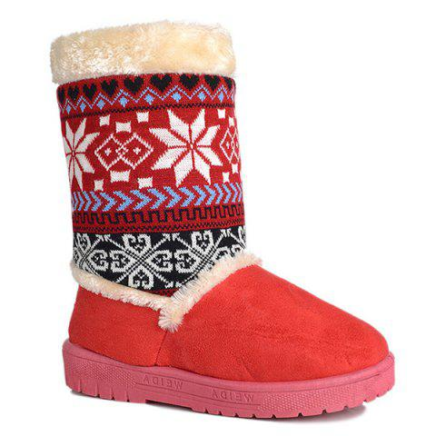 Chic Mid Calf Knit Panel Snow Boots RED 39
