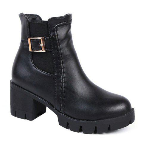 Trendy Chunky Heel Elastic Band Buckle Ankle Boots