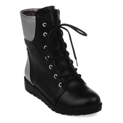Hot Round Toe Lace Up Color Block Ankle Boots BLACK 39