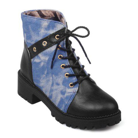 Latest Round Toe Denim Panel Lace Up Ankle Boots BLACK 39
