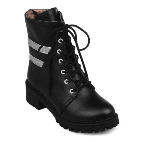 Cheap Round Toe Panel Lace Up Ankle Boots
