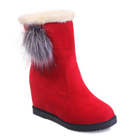 Suede Mid Calf Boots with Hidden Wedge - Red - 39