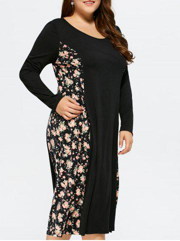 Fashion Plus Size Floral Trim Midi Dress