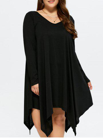 Outfits Asymmetrical Casual V Neck Long Sleeve Dress BLACK XL
