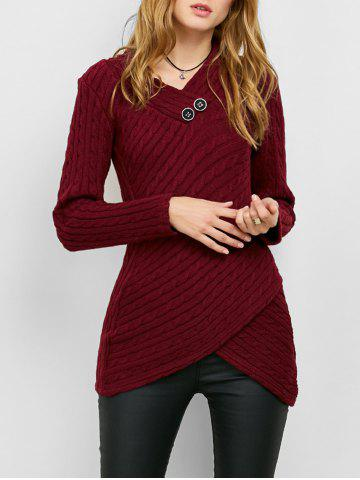 Affordable Button Decorated Overlap Sweater BURGUNDY M
