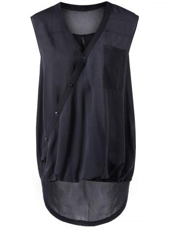 Hot Asymmetric Collar Black Sleeveless Blouse BLACK S