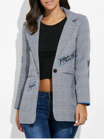 New One Button Letter Embroidery Blazer GRAY XL
