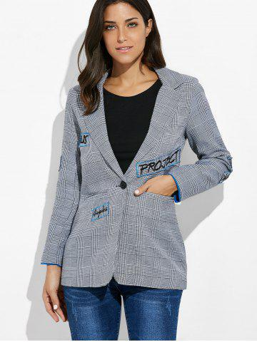 Buy One Button Letter Embroidery Blazer - L GRAY Mobile