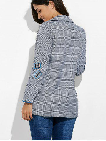 Fashion One Button Letter Embroidery Blazer - L GRAY Mobile