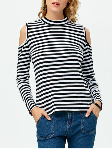 Online High Neck Cold Shoulder Stripe Tee WHITE/BLACK L