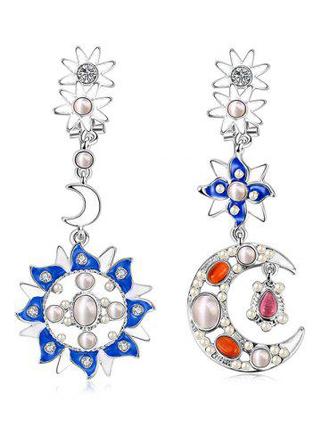 Trendy Artificial Pearl Opal Moon Star Earrings