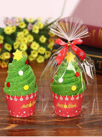 Online Christmas Decorating Supply Best Gift Xmas Tree Pattern Cupcake Towel - GREEN  Mobile