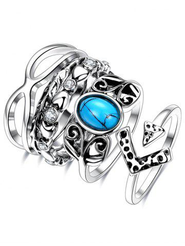 Rhinestone Infinite Ring Set - SILVER 7