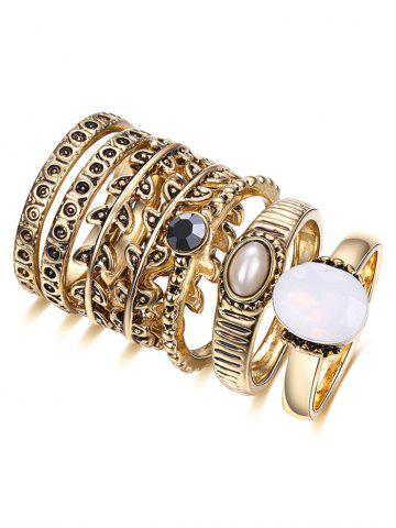 Discount Artificial Pearl Leaf Ring Set GOLDEN 7