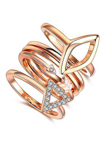 Cheap Rhinestone Triangle Ring Set ROSE GOLD 7