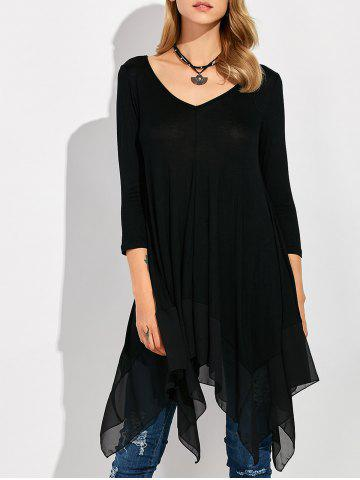 Buy Long Sleeve Asymmetrical Handkerchief Long T-Shirt BLACK XL