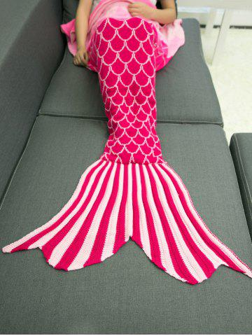 Outfit Ombre Color Knitting Fish Scales Design Mermaid Tail Style Blanket - DEEP PINK  Mobile