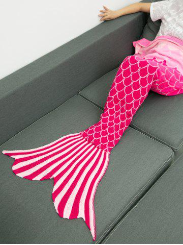 Latest Ombre Color Knitting Fish Scales Design Mermaid Tail Style Blanket - DEEP PINK  Mobile