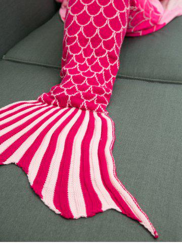 Fancy Ombre Color Knitting Fish Scales Design Mermaid Tail Style Blanket - DEEP PINK  Mobile